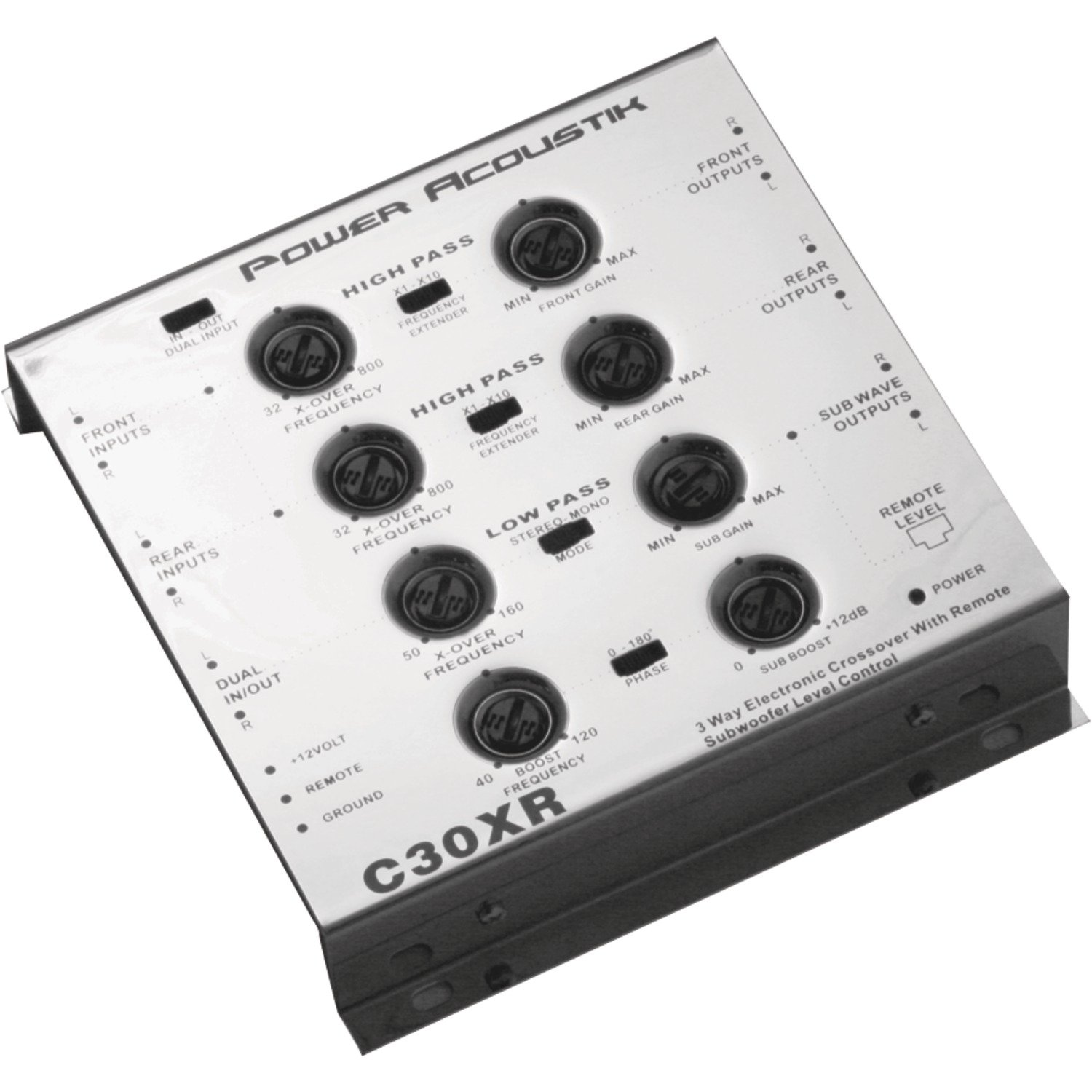 Power Acoustik C30XR 3-Way Electronic Crossover with Remote Dash Mount Bass Knob Control C-30XR