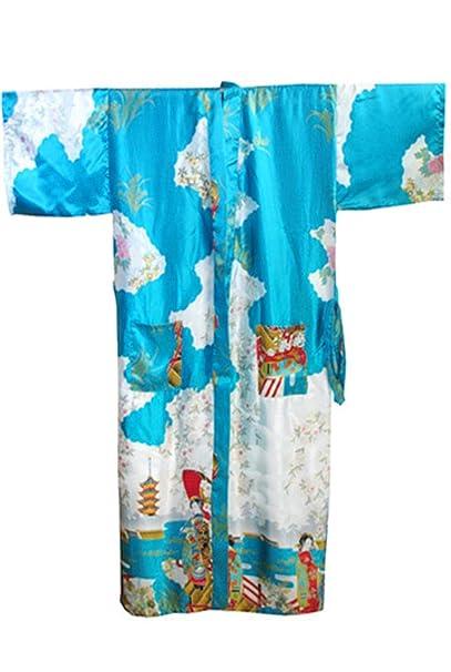 Amazon.com: Women Chinese Traditional Silk Robe Vintage Kimono Gown Novelty Printed: Clothing