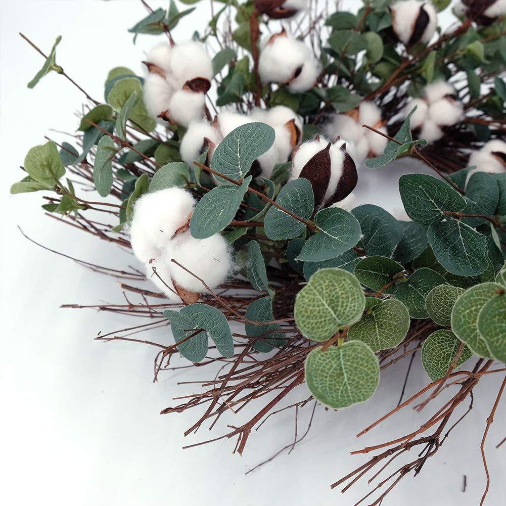 Idyllic Round Wreath for Front Door 20 Cotton Garland Wreath with Round Leaf Spring /& Summer Vintage Wreath Farmhouse Decor Outdoor /& Indoor