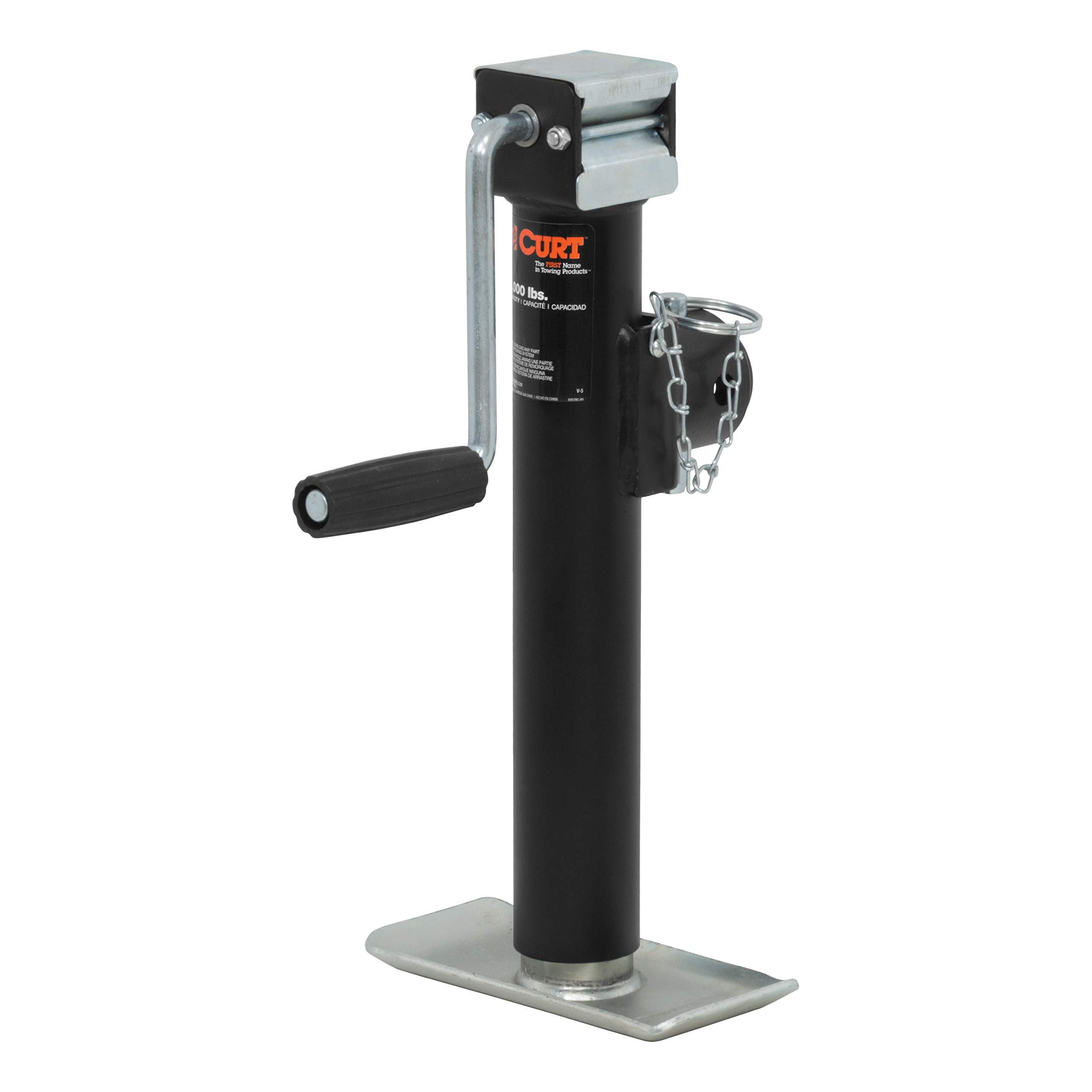 CURT 28321 Weld-On Pipe-Mount Swivel Trailer Jack 2,000 lbs, 10 Inches Vertical Travel by CURT