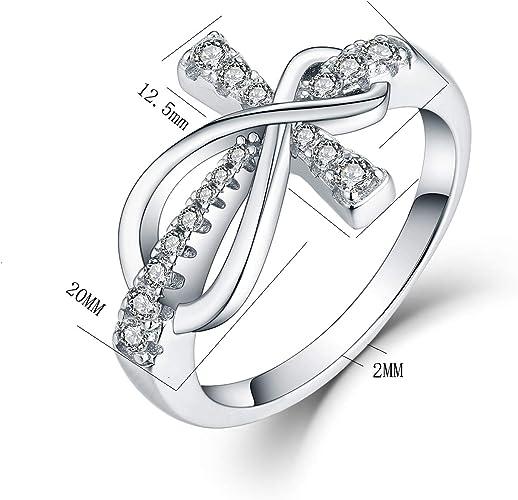 JO WISDOM 925 Sterling Silver Cubic Zirconia Cross Infinity Ring