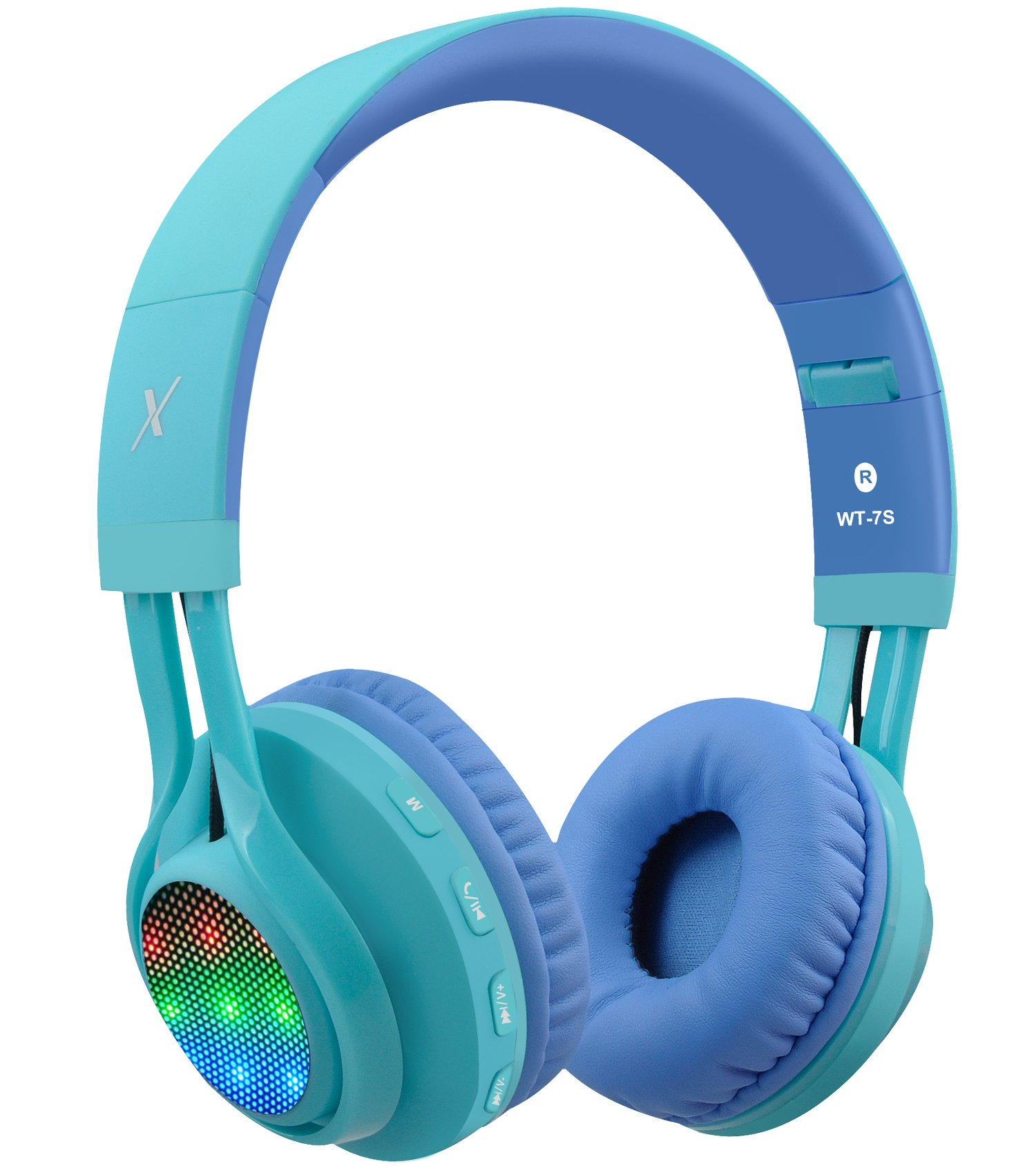 Riwbox WT-7S Bluetooth Headphones, LED Light Up Wireless Foldable Stereo Headset with Microphone and Volume Control for PC/iPhone/ TV/iPad (Blue)