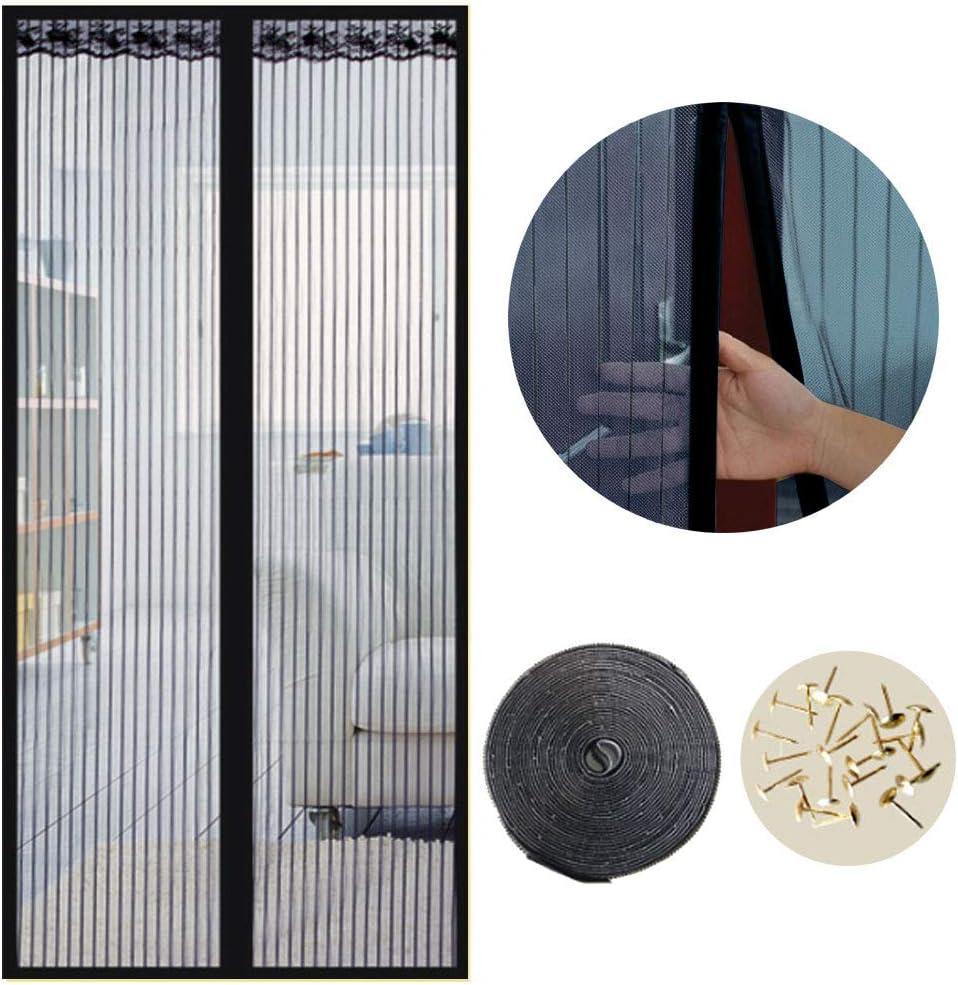 Cortina Mosquitera Magnética para Puertas, 80 x 200cm, Anti Insectos Moscas y Mosquitos, con Imanes Cierre Automático y Velcro Adhesiva, para Puertas Correderas/Balcones/Terraza(Negro): Amazon.es: Bricolaje y herramientas