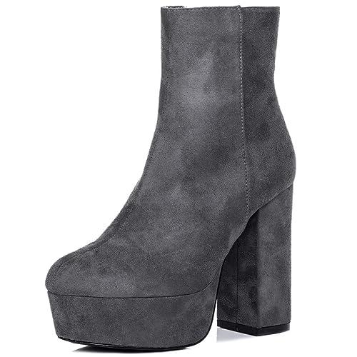 10a946ebcfa1 Platform Block Heel Ankle Boots Shoes Grey Suede Style Sz 8  Amazon.co.uk   Shoes   Bags