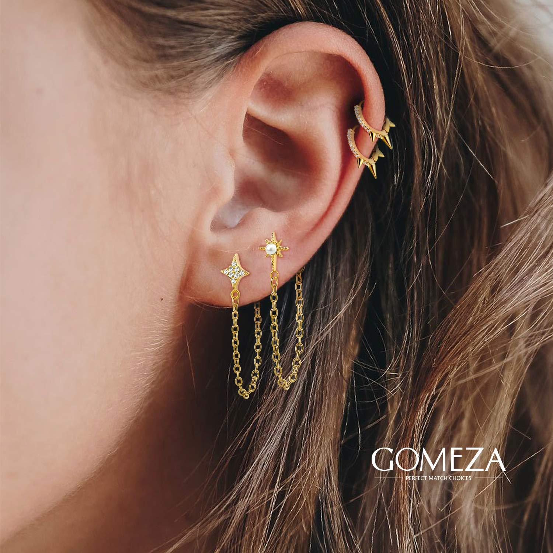 18k Gold Plated Huggie Hoop Earrings for Women Girls Spike Earrings for Sensitive Ears KOSINER 925 Sterling Silver Hoop Earrings for Women