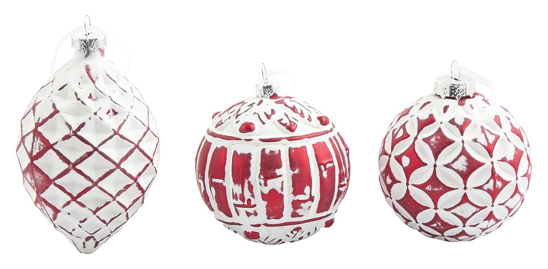 Villa d'Este Home Tivoli Xmas Glass Set 3 Palle di Natale, Bianco, 8x8x0.1 cm, 3 unità Galileo spa 2413147