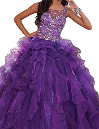 1ee79f65ba6 Women s Blingbling Prom Ball Gown Sweetheart Crystals Sleeveless Long  Organza Quinceanera Dress 2018 Purple at Amazon Women s Clothing store