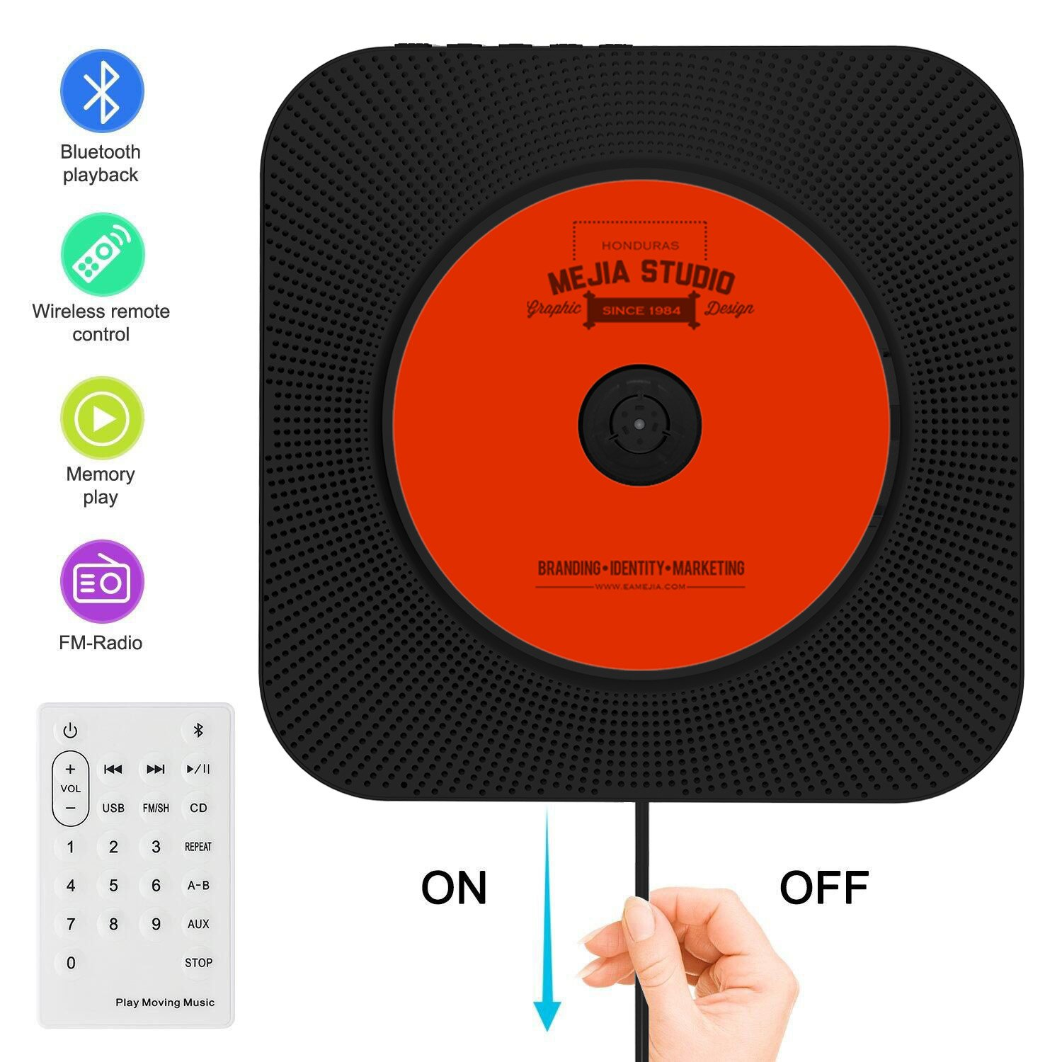 Portable CD Player, Rofeer Bluetooth Wall Mountable CD Music Player Home  Audio Boombox With Remote