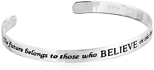 """Sterling Silver """"The Future Belongs To Those Who Believe In The Beauty Of Their Dreams"""" Cuff Bracelet"""