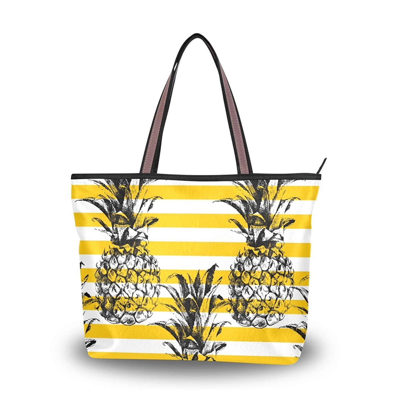 Tropical Fruit Striped Pineapple Tote Handle Shoulder Bags Handbags for Women L