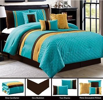 amazon com modern 7 piece king bedding turquoise blue brown