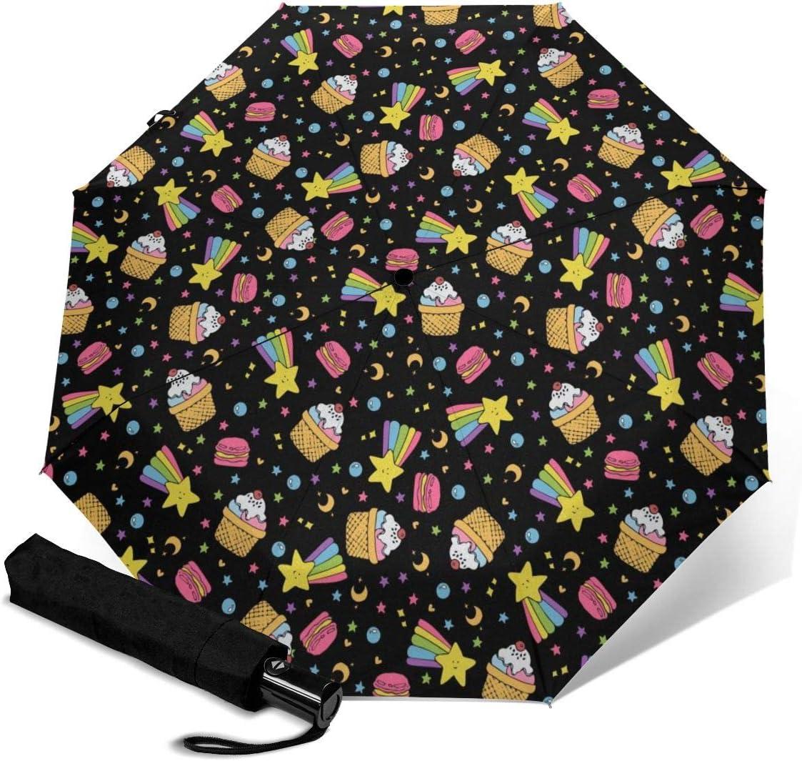 Cute Cake Space Pattern Automatic Folding Umbrella Super Sunscreen Rain Portable Creative UV Protection Tri-Fold Umbrella
