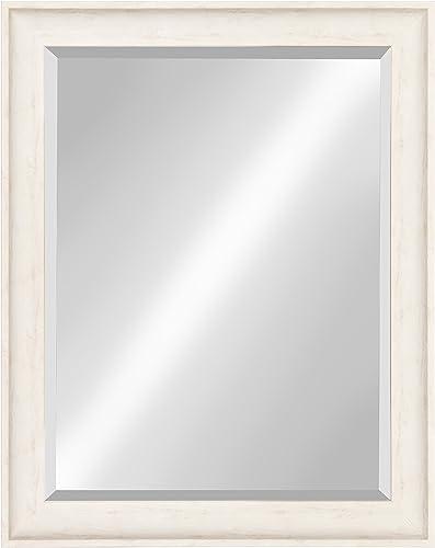 Kate and Laurel McKinley Framed Wall Vanity Beveled Mirror, 26.5×32.5, Distressed White