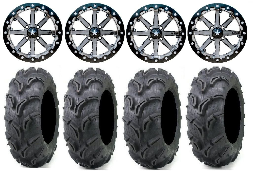 Bundle - 9 Items: MSA Lok 14'' UTV Wheels 30'' Zilla Tires [4x137 Bolt Pattern 12mmx1.25 Lug Kit]
