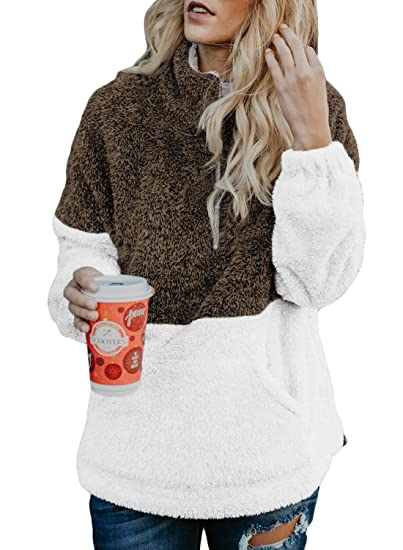 79e98f21128 Dokotoo Womens Fashion Ladies Cozy Sweater Loose Plus Size V Neck Autumn  Fluffy Fleece Color Block