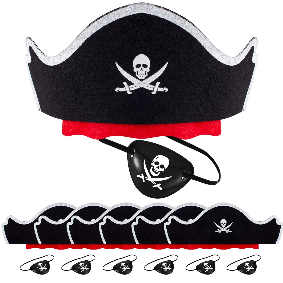 Alphatool 12 Pcs Skull Print Pirate Hat Eye Patches Set, 6 Pieces Caribbean Pirate Captain Hat and 6 Pieces Black Pirate Eye Mask for Pirate Party, Cosplay, Dress Up Theme Party, Halloween
