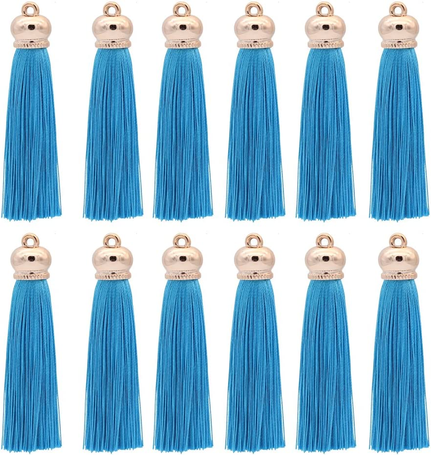 Handbag Pendant,12pcs Winrase 80mm Polyester Soft Tassel Ice Silk Tassel End Stopper Pendant Connectors with Gold Tassels Cap for DIY Jewelry Accessories Making Light brown Curtain Earring