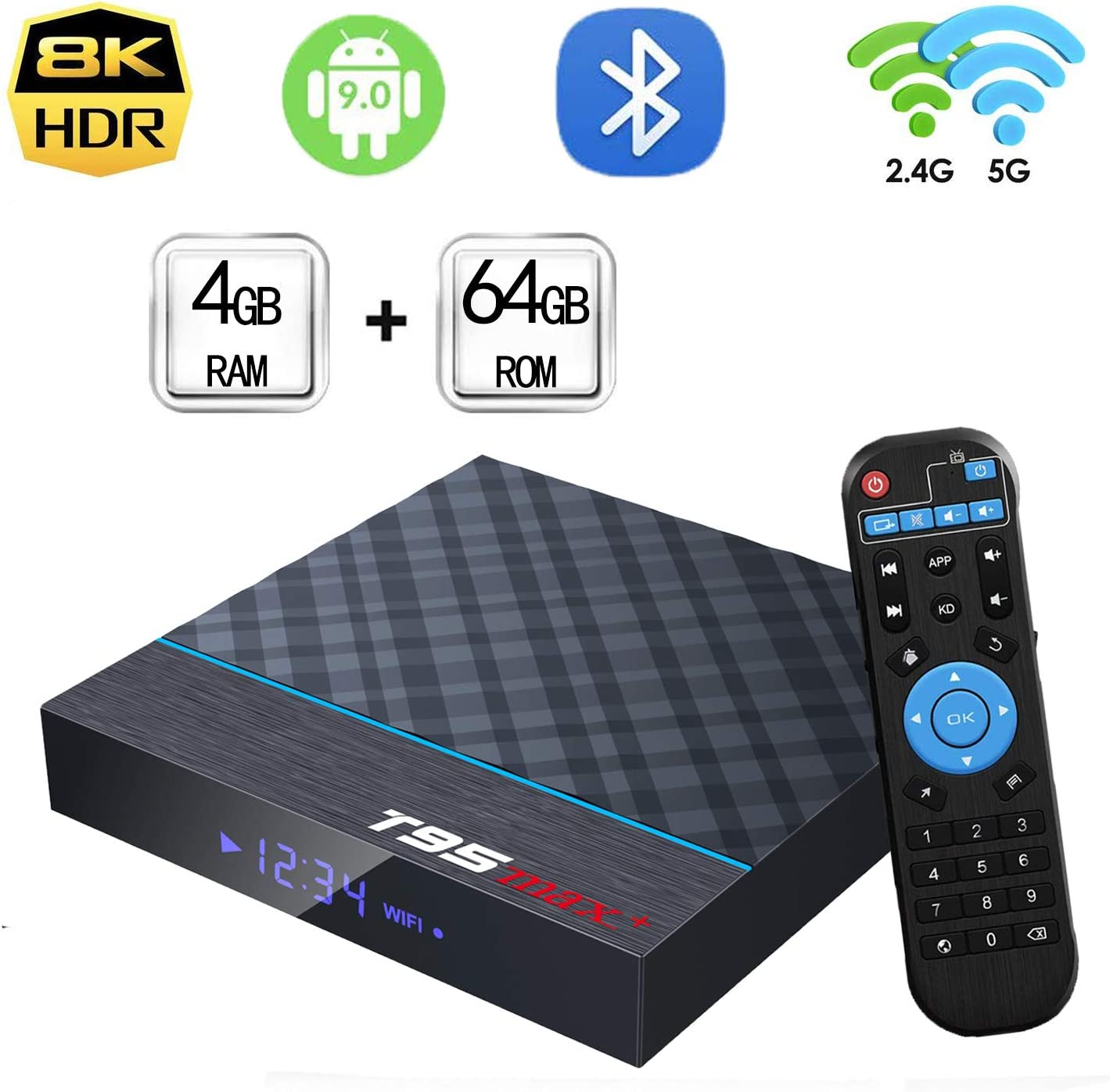 Easytone Android TV Box 9.0 4GB RAM 64GB ROM, T95MAX+ Android Box Amlogic S905X3 Quad-Core Dual Band WiFi 2.4G/5G BT4.0 4K8K 3D H.265 Decodificador USB 3.0 Internet Smart TV Box Media Player: