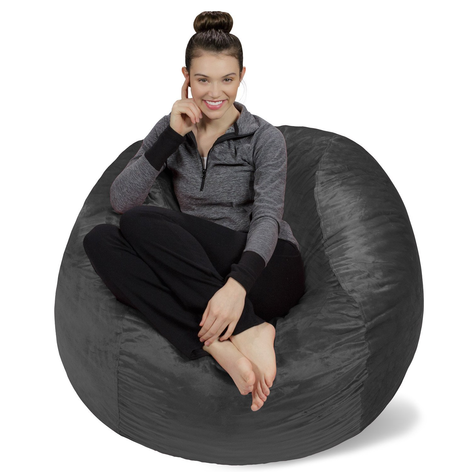 Sofa Sack - Plush, Ultra Soft Bean Bag Chair - Memory Foam Bean Bag Chair with Microsuede Cover - Stuffed Foam Filled Furniture and Accessories for Dorm Room - Charcoal 4' by Sofa Sack - Bean Bags