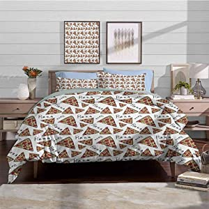Duvet Cover Set Pizza Modern Simple Style Bedding Set Pattern in Hand Drawn Doodle Style Pizzeria Menu Fast Food Delicious Gourmet Eating Decorative 3 Piece Bedding Set with 2 Pillow Shams, Queen Size