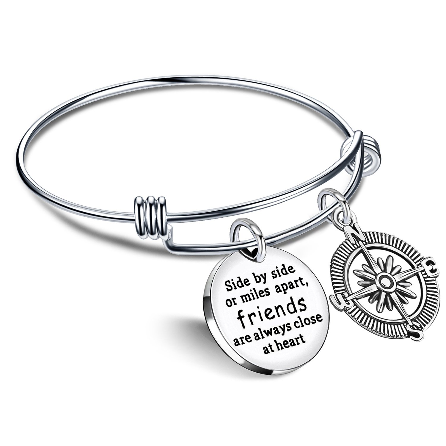 Best Friend Bracelet Friends are always close at heart BFF Bangle Compass Long Distance Friendship Gifts lauhonmin AB056-CA