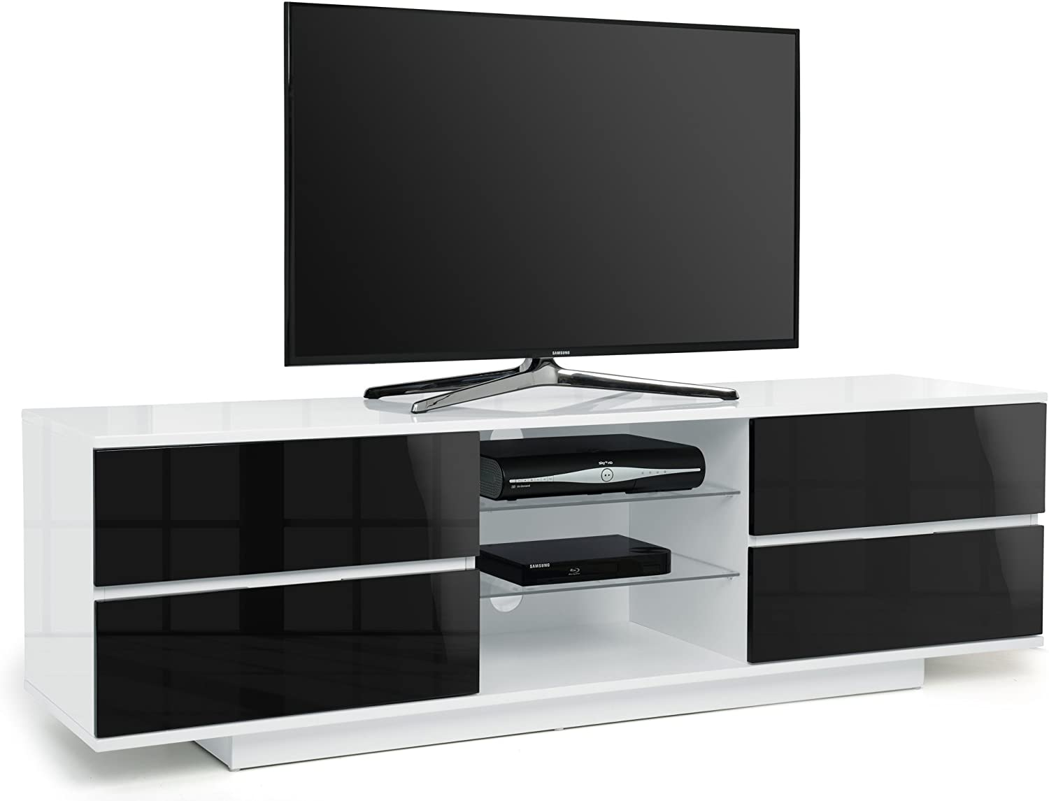 Centurion Supports Avitus High Gloss White with 4-Gloss Black Drawers /& 3-Shelf 32-65 LED//LCD//Plasma Cabinet TV Stand