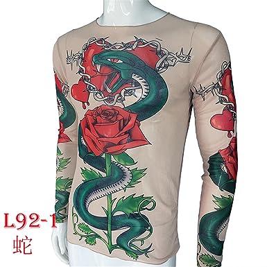 SHINA Women Long Sleeve Tattoo Print Rose Snake T-Shirt Loose Tops ...