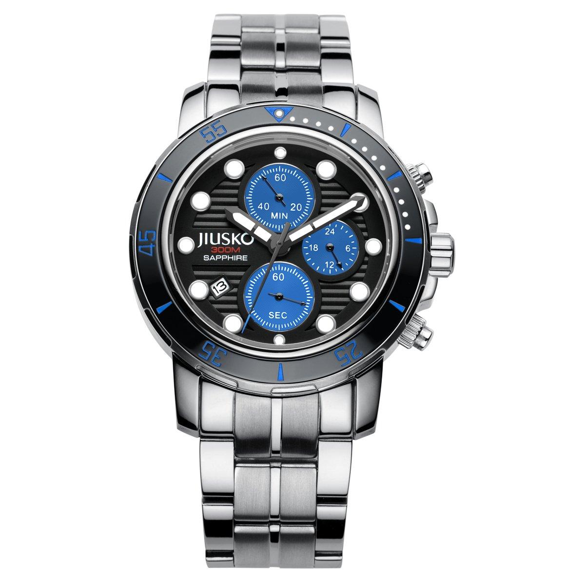 Jiusko 76LSB08 JIUSKO Deep Sea Series Titanium Quartz Chronograph Silver, Blue, Men's Dive Watch by JIUSKO
