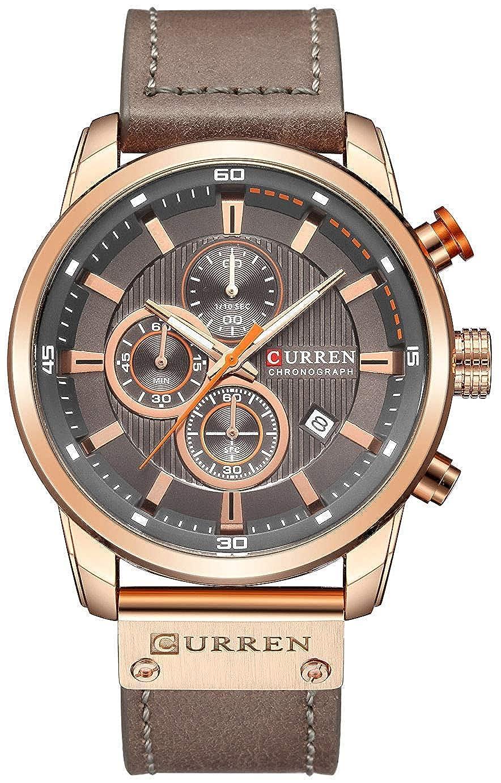 Men Sport Chronograph Quartz Watch Brown Leather Strap Date 30M Waterproof Military Male Wrist Watch