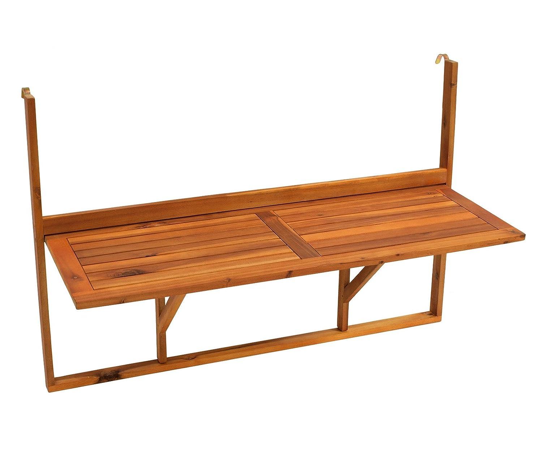 *DEGAMO Balkonhängetisch 120x40cm klappbar, grosse Ausführung, Akazienholz, FSC®-zertifiziert*