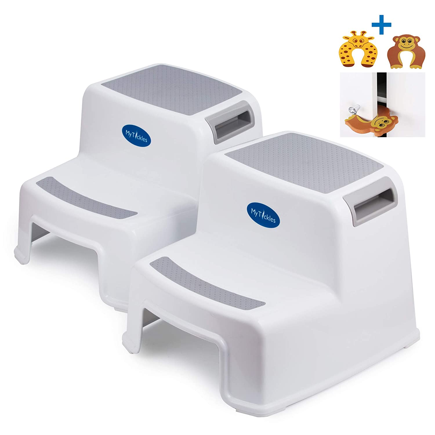 (2 Pack) 2 Step Stool for Kids with 2 Free Finger Pinch Guards! Perfect for The Bathroom and Kitchen, with Extra Thick Anti-Slip Rubber Feet. MyTickles
