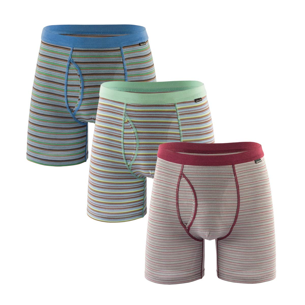 Mens Luxury Bamboo Boxer Underwear Ultra Soft and Breathable Stripes Boxer Briefs 5 Pack