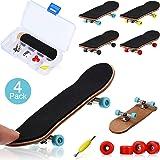 Gejoy 4 Pieces Mini Fingerboards Wooden Skateboard Finger Skateboard Wooden Finger Board Creative Fingertips Movement