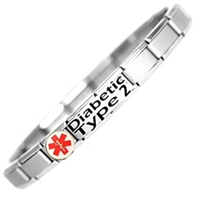 9a28b1939e89d Diabetic Type 2 Medical ID Alert Bracelet - Stainless Steel - One size fits  all - Totally Adjustable
