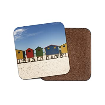 Casetas de playa Surf mar arena regalo corcho Bebidas Posavasos para té y café # 8091, madera, 3 Coasters: Amazon.es: Hogar