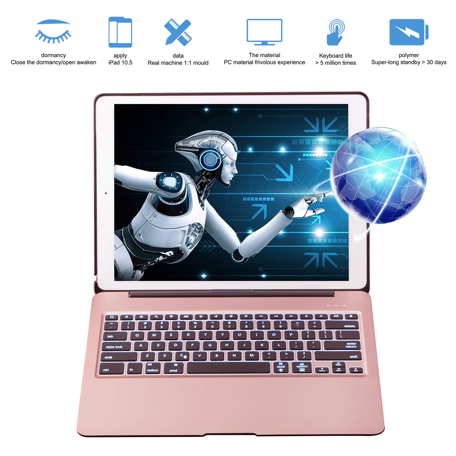 Keyboard Case for iPad Pro 12.9 inch(Not fit 2018), VANKY Wireless Slim Aluminium iPad Protective Case iPad Keyboard with 7 Colors LED Backlit & Auto Wake/Sleep Fit iPad Pro 12.9 (Rose Gold) by VANKY (Image #7)