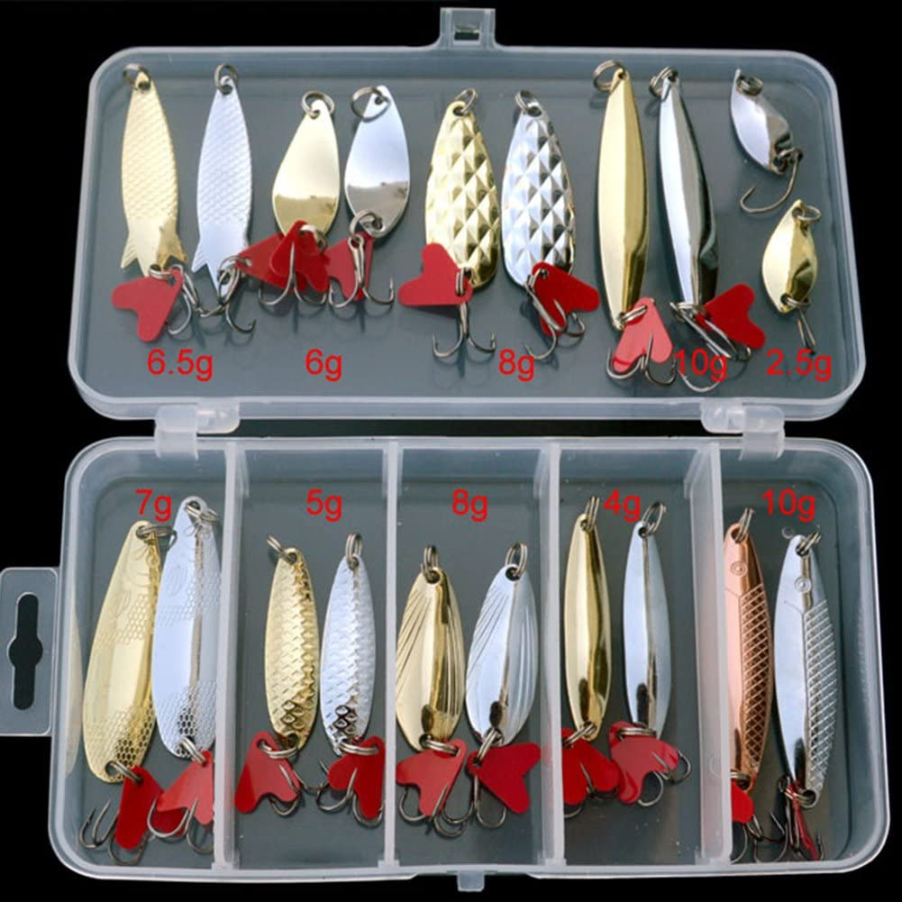 Isafish Metal Spoon Lure Fishing Lures Kit Pack of 21 Pcs Artificial Hard Bait with Fishing Hook Fishing Tackle Box Salmon Spoons Lures Set