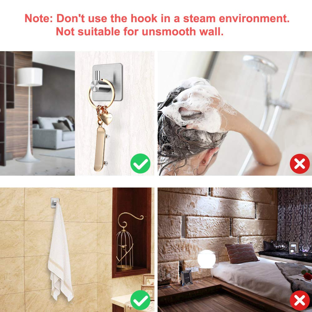 Wall Hooks Stick-up Stainless Steel Hooks for Kitchen Bathrooms Lavatory Closets 6 Pack Dohomai Self Adhesive Hook Waterproof and Rustproof Hats Towel Robe Coat Functional Hooks Max 5kg