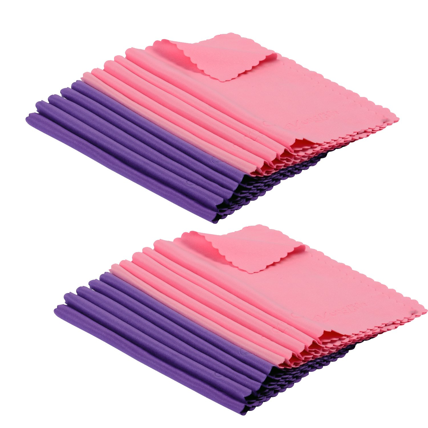 ColorYourLife 20-Pack Microfiber Cleaning Cloths for Apple iPhone ,Ipad, Tablets, Lenses, LCD Monitor, TV, Camera, Glasses, Optics Etc (Purple + Pink) GL-383-AP28A