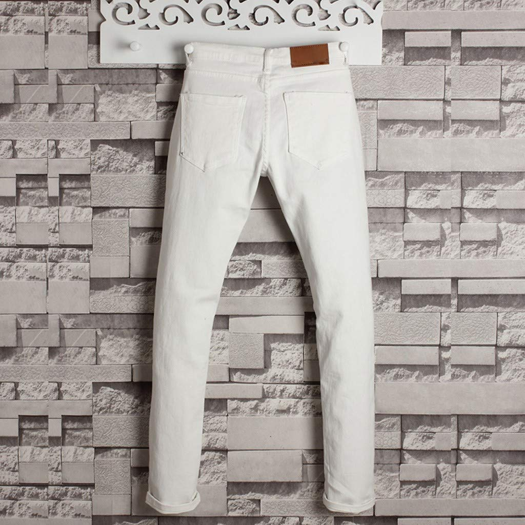 Allywit Men's Skinny Jeans Fashion Teen Boys Stretch Slim Fit Ripped Destroyed Distressed Denim Jeans Pants Big and Tall White by Allywit-Pants (Image #3)