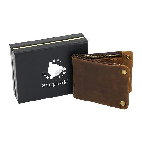Stepack marca Vintage cuero genuino cuero caballo Crazy Cartera corta para hombres-Caja de regalo