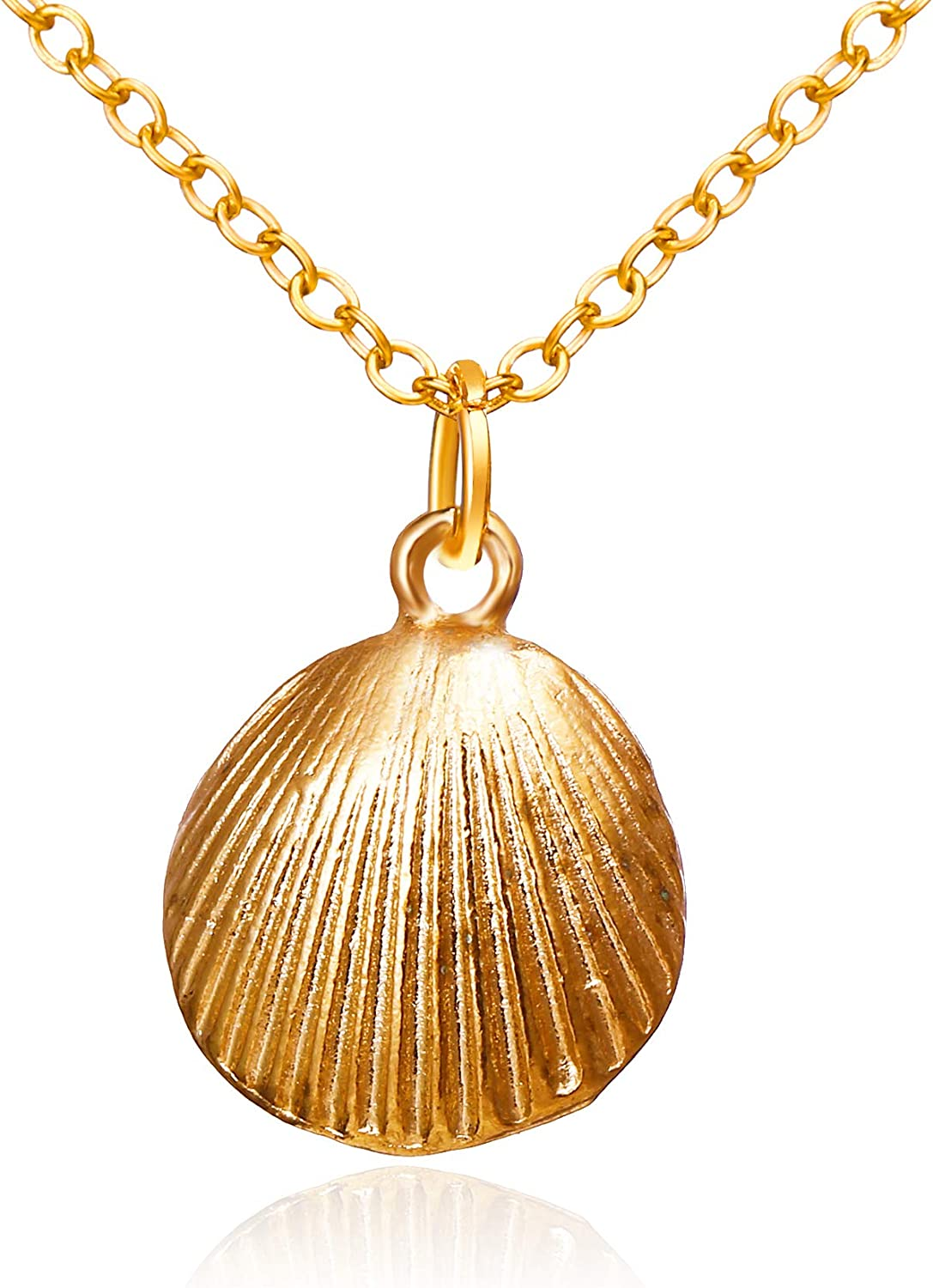 Shells Boho Necklace Chain with Pendant .Marine Theme Fangie 24k Gold Plated Necklace for Women