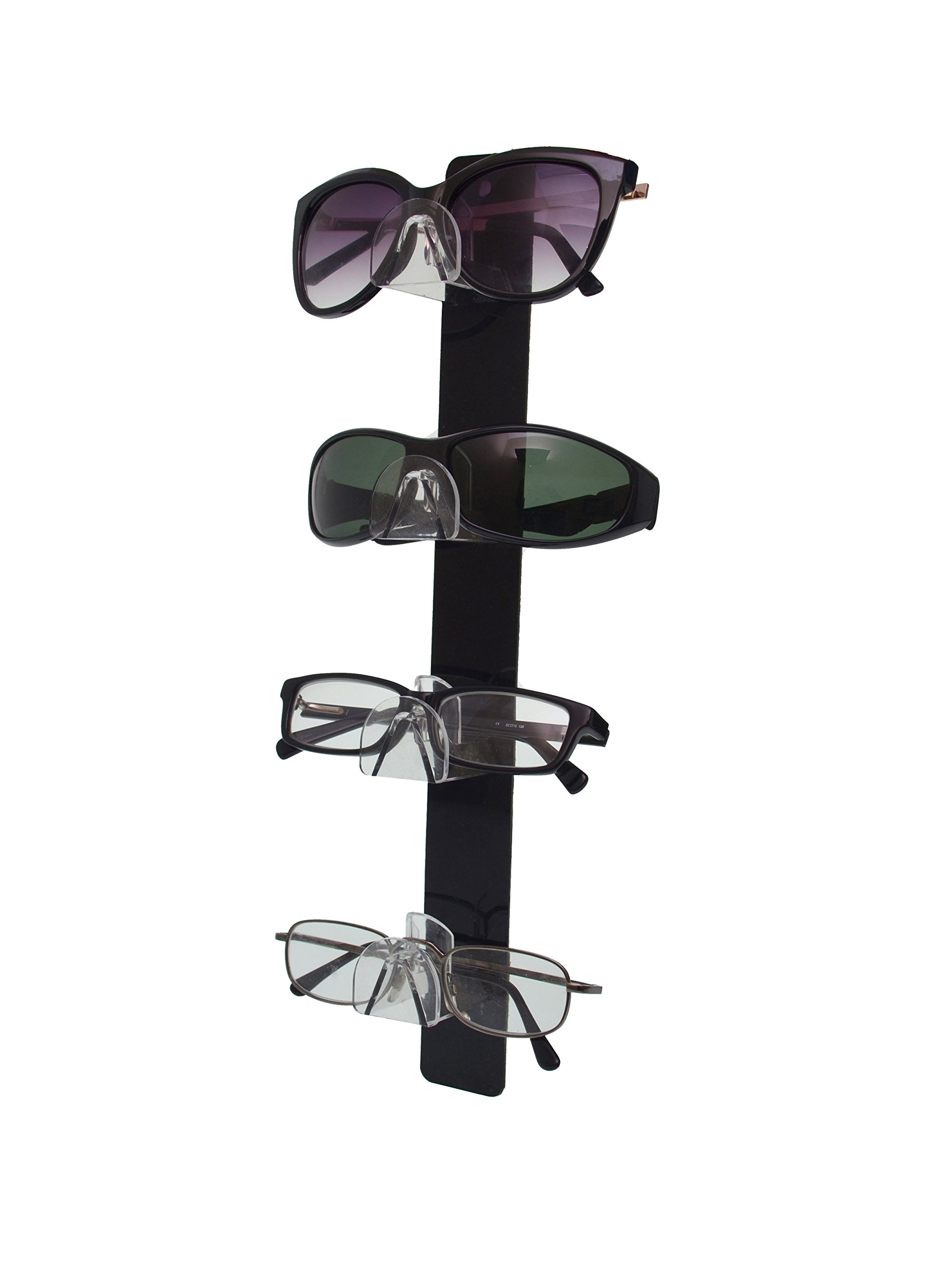 Marketing Holders 4 Tier Acrylic SUNGLASSES EYEGLASSES display with Black Back Glasses Nose