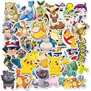 Cute Pokemon Anime Stickers 50pcs The Original Comic Cartoon Pokémon Animals Monsters Aesthetic Trendy Vinyl Waterproof Decals for Laptop Water Bottle Skateboard Diary Cups Tumbler Car Guitar Bumper