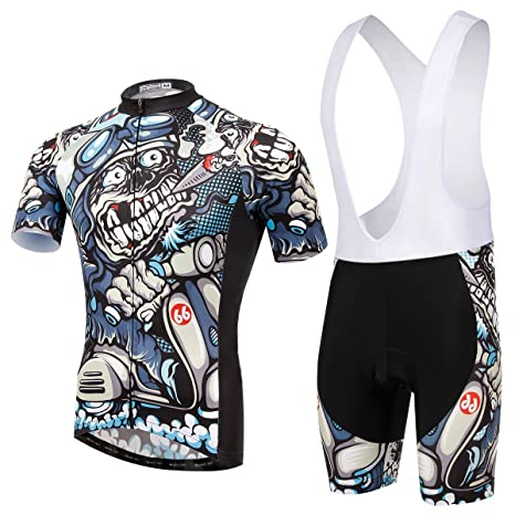 Amazon.com   TeyxoCo Men Cycling MTB Cartoon Skull Gel Pad Jersey ... 24576af2d