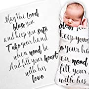 "Ocean Drop Designs - White Muslin Baby Swaddle Blanket - 'May The Lord Bless You' Quote - Christening, Baptism, Baby Shower Gift - 100% Cotton, Lightweight, Breathable - Machine Washable (47""x47"")"