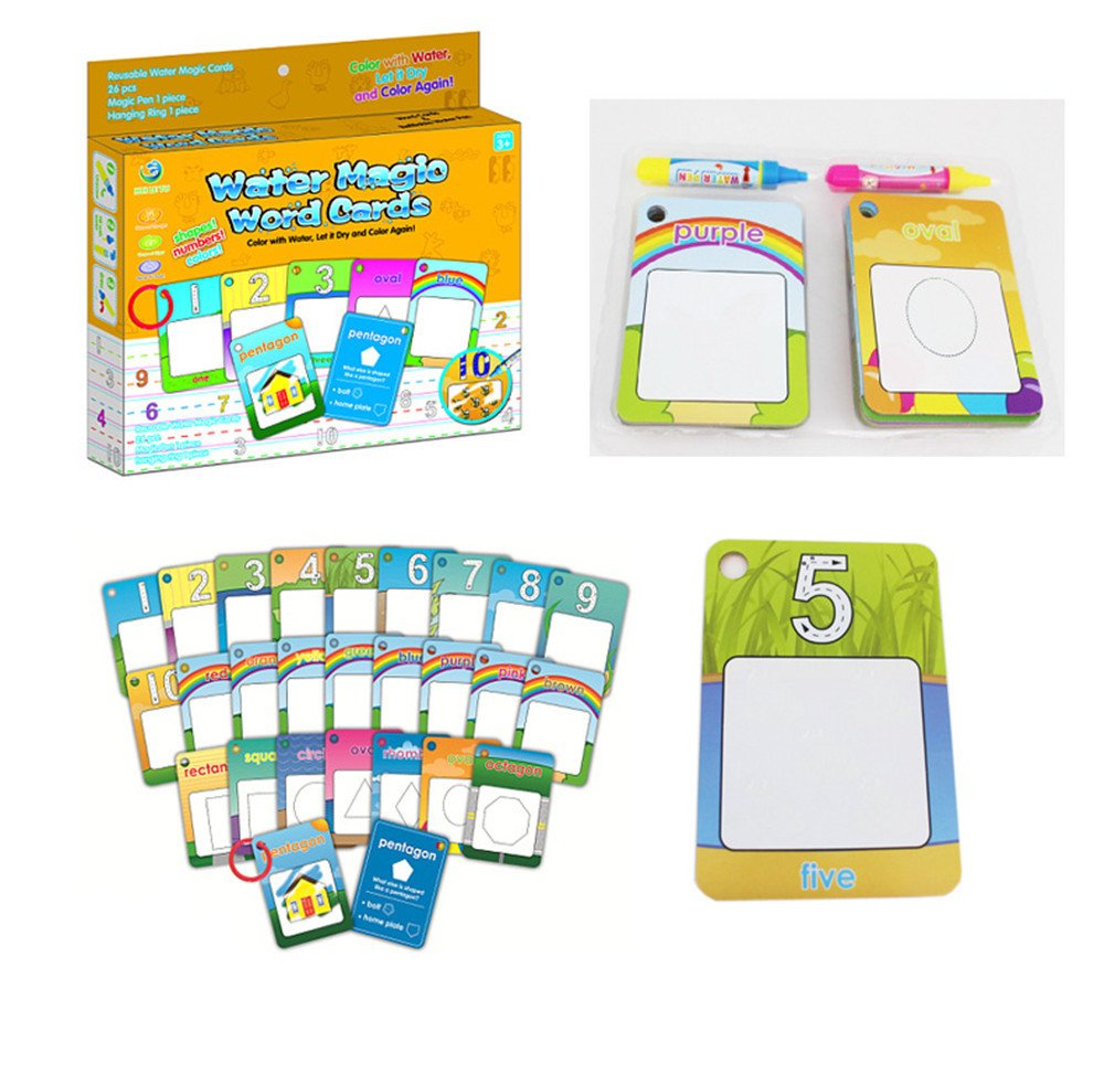 Chidren/'s Early Education Cognitive Cards,Reusable Water Reveal Word Card Water Drawing Doodle Card Book Word Flash Card Water Painting Graffiti Book Card Magic Drawing Pens for Toddler ABBBT Doodle Pad