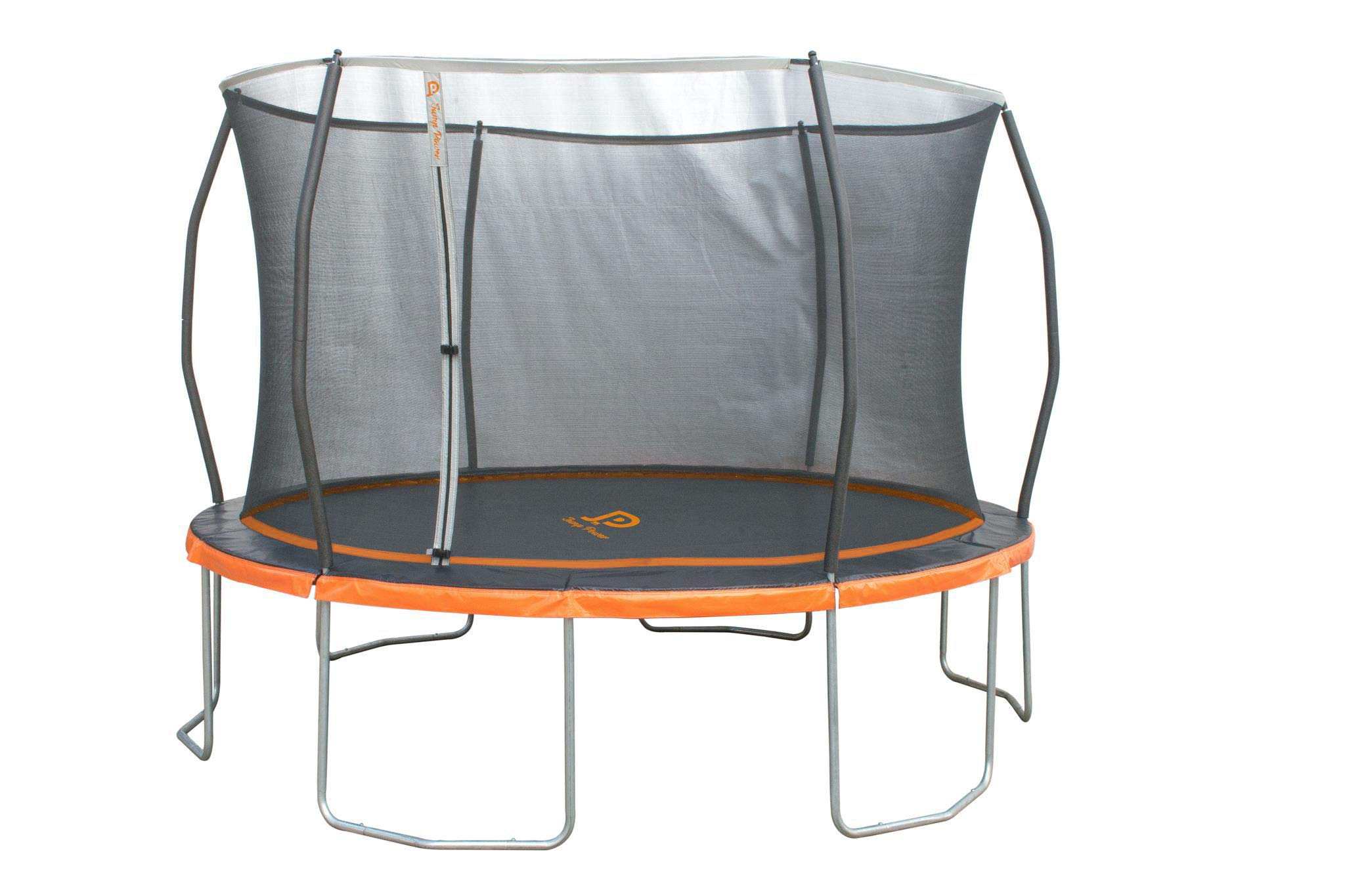 JUMP POWER ''ASTM Safety Approved 12'ft. Trampoline with Patented Steel Flex Ring Safety Net Enclosure System, Black, Orange, Silver