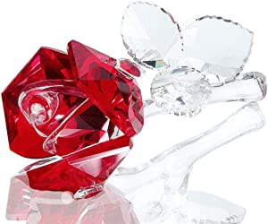 Crystal Rose Flower,Glass Rose Paperweight Figurine Collectible Statue Wedding Table Centerpiece Ornament,Red Rose