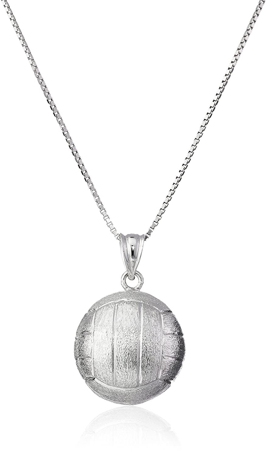 """Sterling Silver 3-d Volleyball Necklace Pendant with 18"""" Box Chain"""